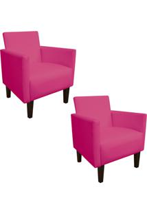 Kit 02 Poltrona Decorativa Compacta Jade Corino Pink Com Pés Baixo Chanfrado - D'Rossi