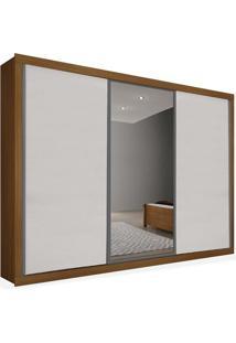 Armário 03 Portas De Correr 2,76 Espelho Central, Imbuia Com Branco, Premium Plus Ii