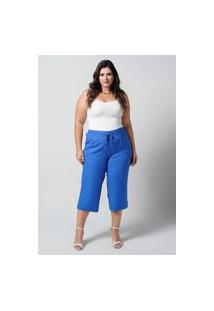 Calça Pantacourt Azul Plus Size Lisa U27470