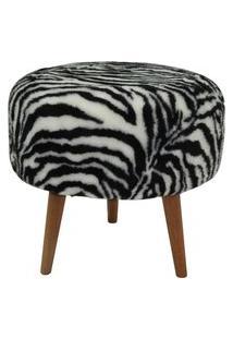 Puff Redondo Decorativo Tecno Mobili Pf7002 Base Natural/Estampa Zebra