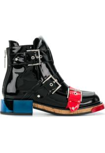 Alexander Mcqueen Ankle Boot De Couro Envernizado - Preto