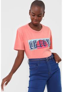 Camiseta Oh, Boy! Logo Coral - Coral - Feminino - Algodã£O - Dafiti