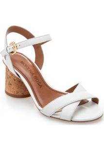 Sandalia Salto Medio Tiras Em X Branco