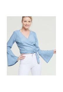 Blusa Feminina Cropped Jeans Manga Longa Sino Razon