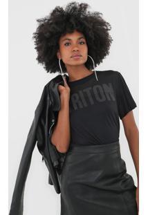 Camiseta Triton Tule Aplicações Preta