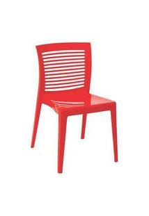 Cadeira Tramontina Victoria Encosto Vazado Horizontal Vermelha Vermelho