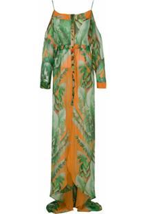 Amir Slama Vestido Longo De Seda Estampado - Verde