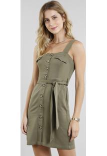 Vestido Feminino Curto Com Botões E Faixa Para Amarrar Verde Militar