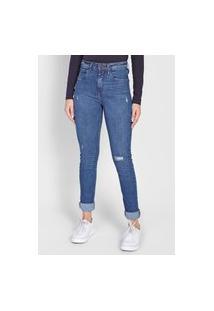Calça Jeans Calvin Klein Jeans Slim Destroyed Azul