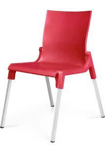 Cadeira Moscou Em Polipropileno Vermelho Com Pes Aluminio - 48006 - Sun House