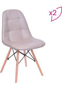 Jogo De Cadeiras Eames Botonê- Fendi & Marrom Claro-Or Design