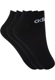Kit De Meias Adidas No Show Com 3 Pares - 39 A 42 - Masculino - Preto