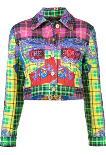 Versace Cropped Tartan Jacket - Estampado