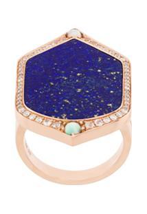 Joëlle Jewellery Lapis And Diamond Set Ring - Azul