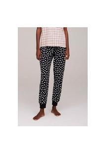 Calça De Pijama Feminina Jogger Em Moletinho