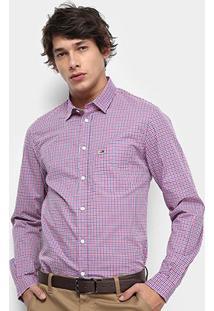 Camisa Xadrez Manga Longa Tommy Jeans Essential Mid Check Shirt Masculina - Masculino-Xadrez