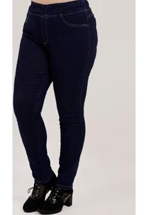 Calça Jegging Jeans Plus Size Feminina Azul