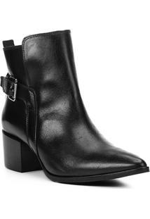 Bota Couro Cano Curto Shoestock Bico Fino Fivela Feminina - Feminino-Preto