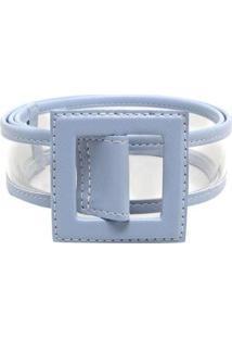 Cinto Birô Transparente Quadrado Feminino - Feminino-Azul