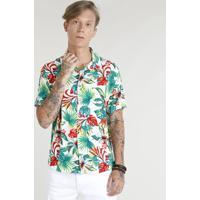 461c2a025 Camisa Masculina Estampada Floral Tropical Manga Curta Branca