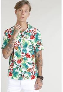 Camisa Masculina Estampada Floral Tropical Manga Curta Branca