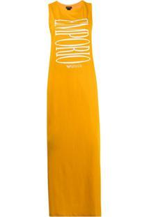 Emporio Armani Sleeveless Logo-Print Maxi Dress - Amarelo