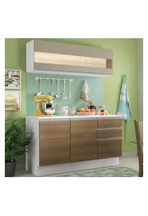 Cozinha Compacta 100% Mdf Madesa Smart 120 Cm Modulada Com Balcão E Tampo Branco/Rustic/Crema Rustic