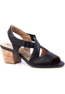 Sandália Couro Doctor Shoes 284 Salto Grosso Feminina - Feminino-Preto