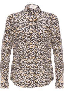 Camisa Feminina Seda Onça - Animal Print