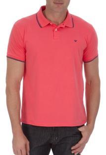 Camisa Polo Masculina Rosa Com Detalhe - G