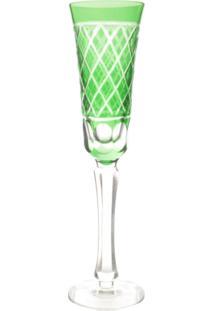 Conjunto Taças De Cristal Lapidado Verde 110Ml 6 Peças - Tricae