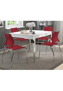 Mesa Extensível 1541 Branca Cromada Com 4 Cadeiras 357 Vermelho Carraro