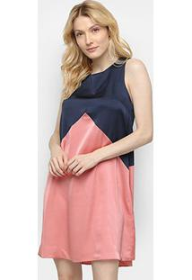 Vestido Curto Enna Bicolor Regata - Feminino-Listrado