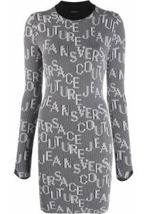 Versace Jeans Couture Vestido Com Estampa De Logo - Preto