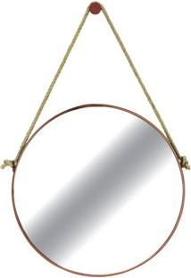 Espelho Redondo Hanoi Prata Moldura Gold 75 Cm - 59988 - Sun House