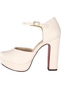 Sandália Meia Pata Salto Grosso Week Shoes Bico Redondo Creme