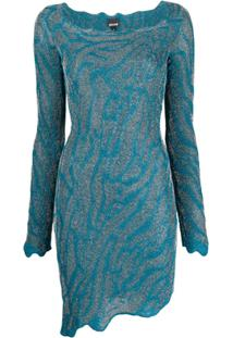 Just Cavalli Vestido Slim Assimétrico - Azul