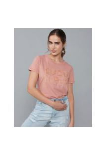 Amaro Feminino T-Shirt Bordado Good Vibes, Rose