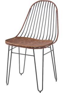 Cadeira Invisi Assento E Trama Couro Natural Caramelo Base Preta 45 Cm (Larg) - 41430 - Sun House