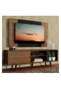 Rack Madesa Dubai Com Pés E Painel Para Tv Até 58 Polegadas - Rustic/Preto 5Zc1