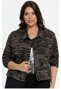 Jaqueta Feminina Sarja Estampa Camuflada Plus Size Razon