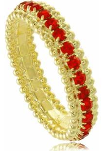 Anel Com Cristais Vermelhos 3Rs Semijoias Dourado