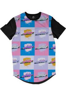 Camiseta Bsc Longline Desenhos De Carros Lowrider Sublimada Preta