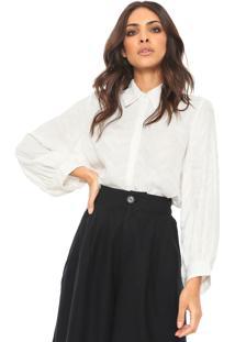 Camisa Sacada Textura Branca