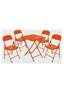 Conjunto Mesa C/ 4 Cadeiras Dobráveis Laranja Açomix