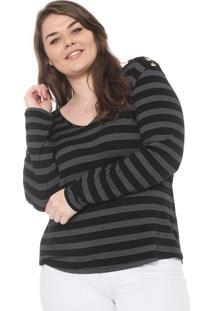 Blusa Secret Glam Plus Size Argolas Off-White/Preta