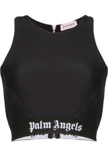 Palm Angels Blusa Cropped Com Logo - Preto