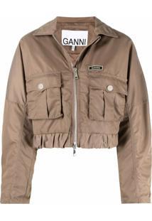 Ganni Flap-Pocket Cropped Jacket - Marrom