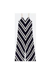 Macacão Pantalona Listrado Com Alças De Corda | Marfinno | Azul | Pp