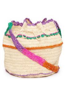 Bolsa Feminina Saco Crochet Palha - Bege